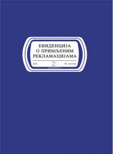 Knjiga evidencija o primljenim reklamacijama A4/80l